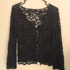 Beautiful in black lace. See through cardigan Sz M